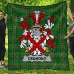 1stScotland Premium Quilt - Desmond Irish Family Crest Quilt - Irish National Tartan A7
