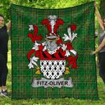 1stScotland Premium Quilt - Fitz-Oliver Irish Family Crest Quilt - Irish National Tartan A7
