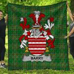 1stScotland Premium Quilt - Barry Irish Family Crest Quilt - Irish National Tartan A7