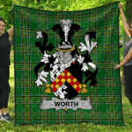 1stScotland Premium Quilt - Worth Or Mcworth Irish Family Crest Quilt - Irish National Tartan A7