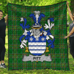 1stScotland Premium Quilt - Pitt Irish Family Crest Quilt - Irish National Tartan A7