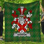 1stScotland Premium Quilt - Barron Irish Family Crest Quilt - Irish National Tartan A7