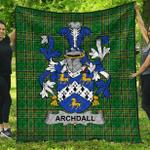 1stScotland Premium Quilt - Archdall Irish Family Crest Quilt - Irish National Tartan A7