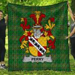 1stScotland Premium Quilt - Perry Irish Family Crest Quilt - Irish National Tartan A7