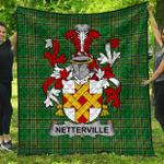 1stScotland Premium Quilt - Netterville Or Netterfield Irish Family Crest Quilt - Irish National Tartan A7