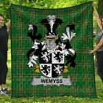 1stScotland Premium Quilt - Wemyss Irish Family Crest Quilt - Irish National Tartan A7