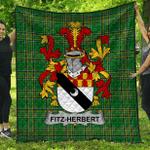 1stScotland Premium Quilt - Fitz-Herbert Irish Family Crest Quilt - Irish National Tartan A7