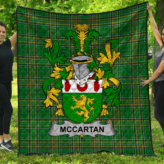 1stScotland Premium Quilt - Mccartan Irish Family Crest Quilt - Irish National Tartan A7