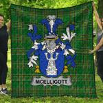 1stScotland Premium Quilt - Mcelligott Irish Family Crest Quilt - Irish National Tartan A7