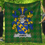 1stScotland Premium Quilt - James Irish Family Crest Quilt - Irish National Tartan A7
