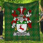1stScotland Premium Quilt - Mcdevitt Irish Family Crest Quilt - Irish National Tartan A7