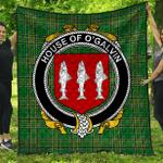 1stScotland Premium Quilt - House Of O'Galvin Irish Family Crest Quilt - Irish National Tartan A7