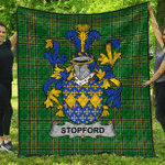 1stScotland Premium Quilt - Stopford Irish Family Crest Quilt - Irish National Tartan A7