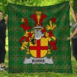1stScotland Premium Quilt - Burke Irish Family Crest Quilt - Irish National Tartan A7