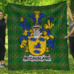 1stScotland Premium Quilt - Mccausland Irish Family Crest Quilt - Irish National Tartan A7