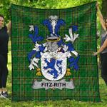 1stScotland Premium Quilt - Fitz-Rith Irish Family Crest Quilt - Irish National Tartan A7