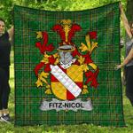 1stScotland Premium Quilt - Fitz-Nicol Irish Family Crest Quilt - Irish National Tartan A7