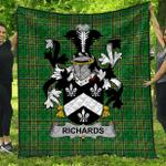 1stScotland Premium Quilt - Richards Irish Family Crest Quilt - Irish National Tartan A7