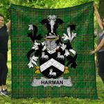 1stScotland Premium Quilt - Harman Irish Family Crest Quilt - Irish National Tartan A7