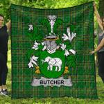1stScotland Premium Quilt - Butcher Irish Family Crest Quilt - Irish National Tartan A7