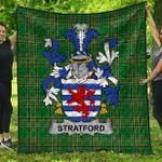 1stScotland Premium Quilt - Stratford Irish Family Crest Quilt - Irish National Tartan A7