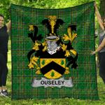 1stScotland Premium Quilt - Ouseley Irish Family Crest Quilt - Irish National Tartan A7