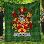 1stScotland Premium Quilt - Bateman Irish Family Crest Quilt - Irish National Tartan A7