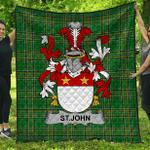 1stScotland Premium Quilt - St.John Irish Family Crest Quilt - Irish National Tartan A7