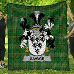 1stScotland Premium Quilt - Savage Irish Family Crest Quilt - Irish National Tartan A7