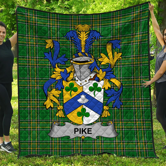 1stScotland Premium Quilt - Pike Irish Family Crest Quilt - Irish National Tartan A7