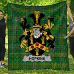 1stScotland Premium Quilt - Hopkins Irish Family Crest Quilt - Irish National Tartan A7
