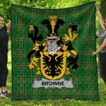 1stScotland Premium Quilt - Browne Irish Family Crest Quilt - Irish National Tartan A7