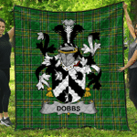 1stScotland Premium Quilt - Dobbs Irish Family Crest Quilt - Irish National Tartan A7