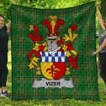 1stScotland Premium Quilt - Vizer Irish Family Crest Quilt - Irish National Tartan A7