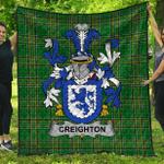 1stScotland Premium Quilt - Creighton Irish Family Crest Quilt - Irish National Tartan A7