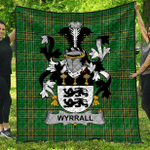 1stScotland Premium Quilt - Wyrrall Irish Family Crest Quilt - Irish National Tartan A7