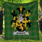 1stScotland Premium Quilt - Barker Irish Family Crest Quilt - Irish National Tartan A7