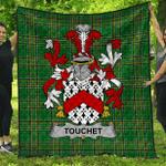 1stScotland Premium Quilt - Touchet Irish Family Crest Quilt - Irish National Tartan A7