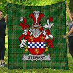1stScotland Premium Quilt - Stewart Irish Family Crest Quilt - Irish National Tartan A7