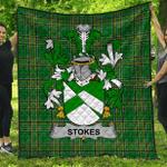 1stScotland Premium Quilt - Stokes Irish Family Crest Quilt - Irish National Tartan A7