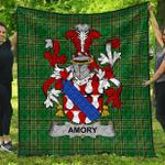 1stScotland Premium Quilt - Amory Irish Family Crest Quilt - Irish National Tartan A7