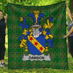 1stScotland Premium Quilt - Dawson Irish Family Crest Quilt - Irish National Tartan A7