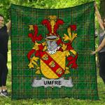 1stScotland Premium Quilt - Umfre Irish Family Crest Quilt - Irish National Tartan A7