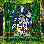 1stScotland Premium Quilt - Fulton Irish Family Crest Quilt - Irish National Tartan A7
