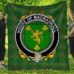 1stScotland Premium Quilt - House Of Macrannall (Reynolds) Irish Family Crest Quilt - Irish National Tartan A7