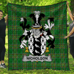 1stScotland Premium Quilt - Nicholson Irish Family Crest Quilt - Irish National Tartan A7