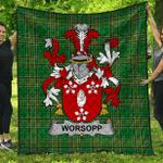 1stScotland Premium Quilt - Worsopp Irish Family Crest Quilt - Irish National Tartan A7