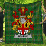 1stScotland Premium Quilt - Bourke Irish Family Crest Quilt - Irish National Tartan A7