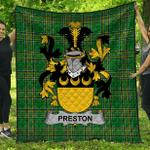 1stScotland Premium Quilt - Preston Irish Family Crest Quilt - Irish National Tartan A7
