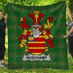 1stScotland Premium Quilt - Muschamp Irish Family Crest Quilt - Irish National Tartan A7